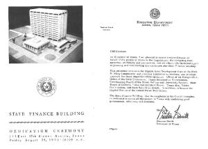LBJ State Office Building campus of the Texas State Capitol, dedication ceremony brochure